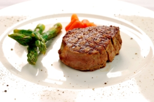 Steak with Asparagus and Sweet Potato Puree